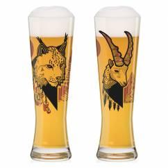 Black Label Wheat Beer Glass Set by Daniel Fatemi (Lynx & Chamois)