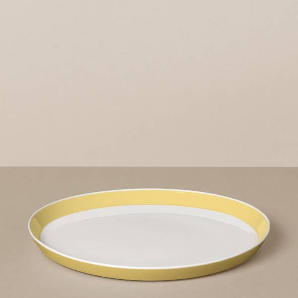 Dinner plate in white / yellow