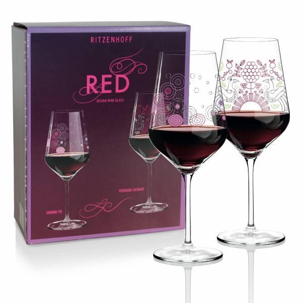 Red Rotweinglas 2er-Set von Shinobu Ito & Véronique Jacquart