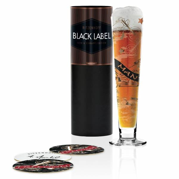 Black Label beer glass by Anissa Mendil