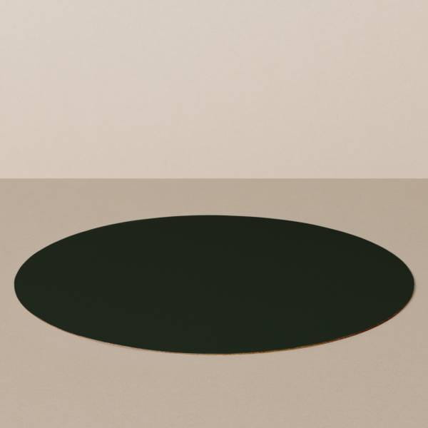 Placemat L, round, in black / yellow