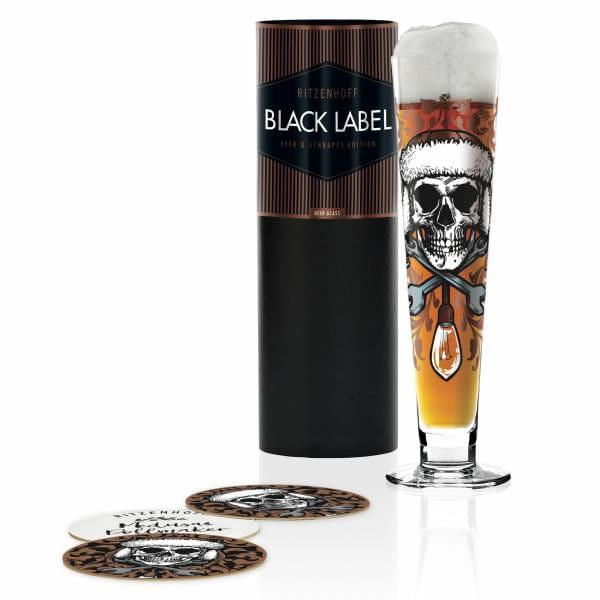 Black Label beer glass from Medusa Dollmaker