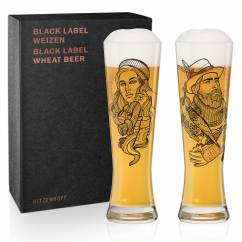 Black Label Wheat Beer Glass Set by Vladimir Bott (Falconer & Lumberjack)