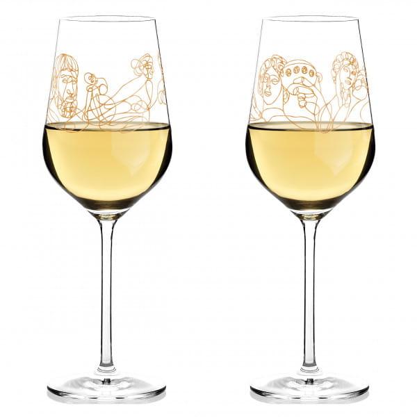 Wein-Ensemble Weißweinglas-Set von Burkhard Neie (Dionysos & Ariadne   Zeus & Leto)